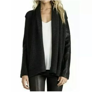 Vince Wool Lamb Leather Black Knit Open Cardigan,S
